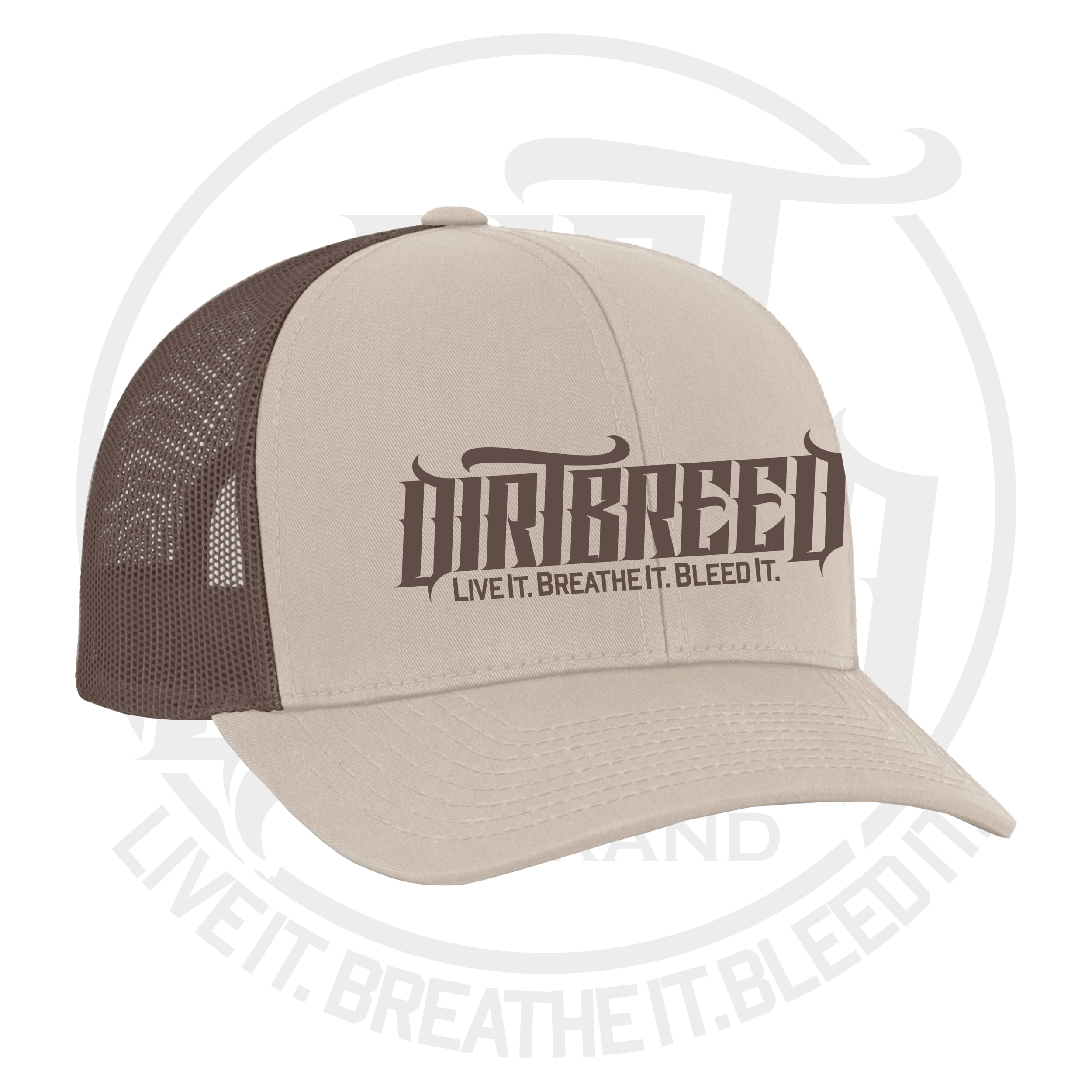 DirtBreed 2-Tone Dirt Track Racing Trucker Hat Khaki-Brown