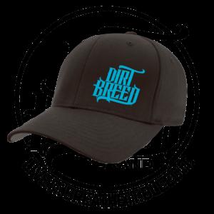DirtBreed Dirt Track Racing Flexfit Hat Black Neon Blue