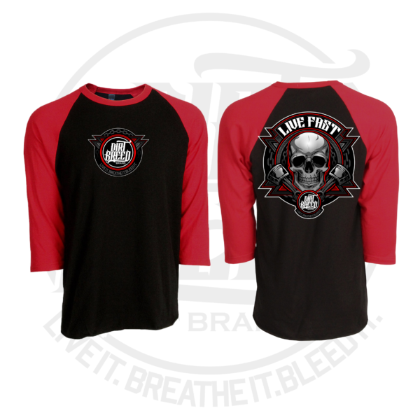 DirtBreed Awesome Baseball Raglan Live Fast Skull Dirt Track Racing Shirt
