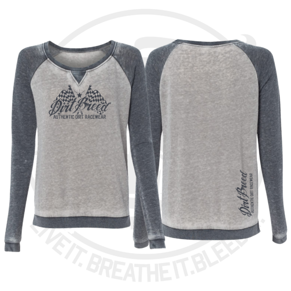 DirtBreed Ladies Checkered Flag Zen Crewneck Cement