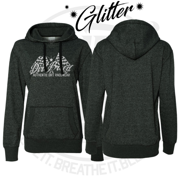 DirtBreed Ladies Glitter Hoodie Checkered Flag Design Dirt Track Racing Apparel